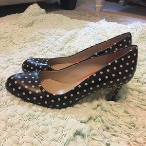 Boden Polka Dot All Leather Heels. Sz 7.